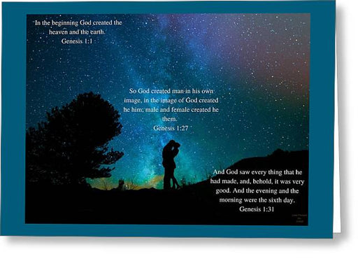 In The Beginning God Created Male And Female - Greeting Card - Love the Lord Inc