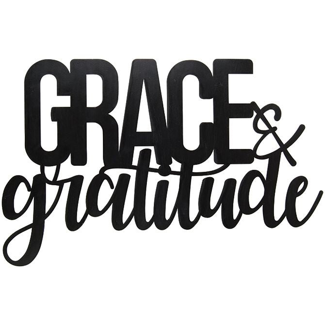 Metal Cutout Sign - Grace & Gratitude - Love the Lord Inc
