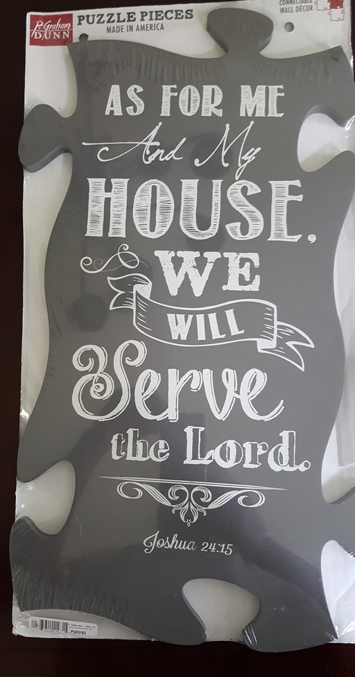"Christian Wall Art - Puzzle Piece ""As For Me and My House"" - Love the Lord Inc"