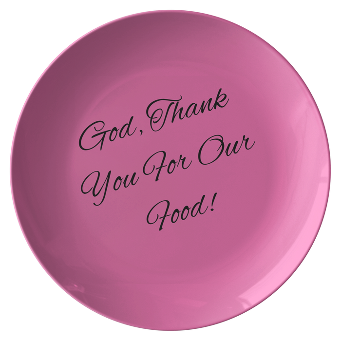 Plate - God, Thank You For Our Food! (Pink) - Love the Lord Inc