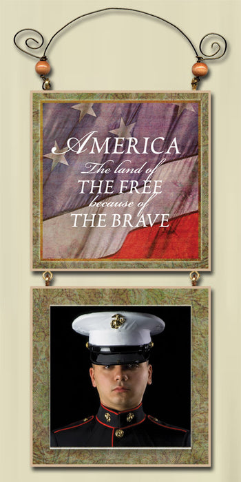 America The Land of The Free and Brave - Hanging Photo Frame - Love the Lord Inc