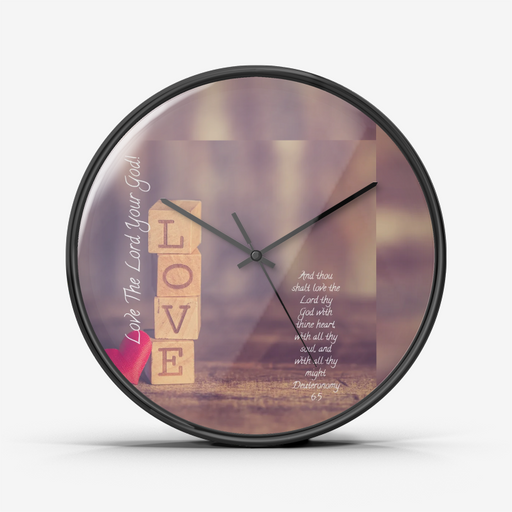 Wall Clock Silent Non Ticking Quality Quartz - Love The Lord Your God - Love the Lord Inc