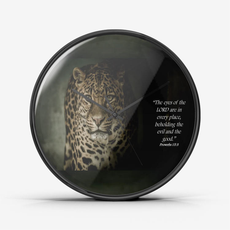 Wall Clock Silent Non Ticking Quality Quartz - The Eyes of the Lord (Leopard) - Love the Lord Inc