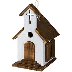 Birdhouse - Brown and White Church - Love the Lord Inc
