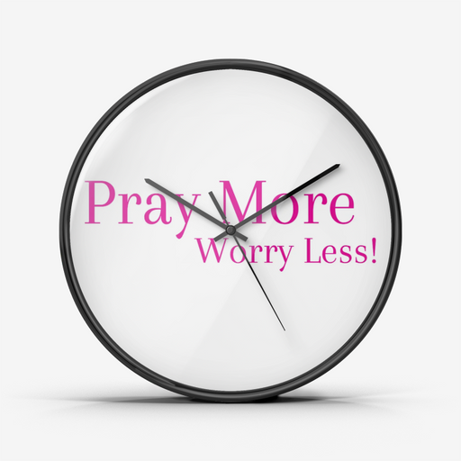 Wall Clock Silent Non Ticking Quality Quartz - Pray More Worry Less (Pink) - Love the Lord Inc