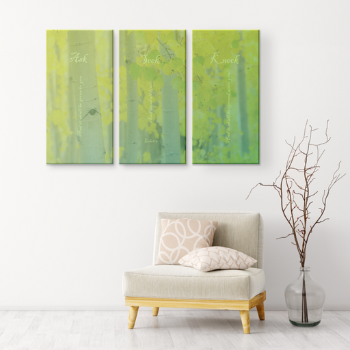 Three Piece Set Canvas Print - Ask, Seek, Knock - Love the Lord Inc