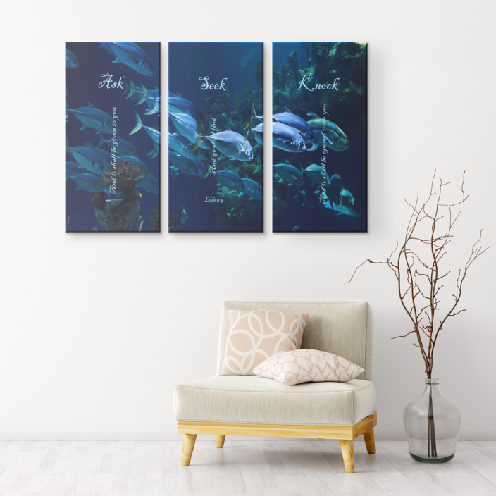 Three Piece Canvas Print - Ask, Seek, Knock (Deep Sea) - Love the Lord Inc
