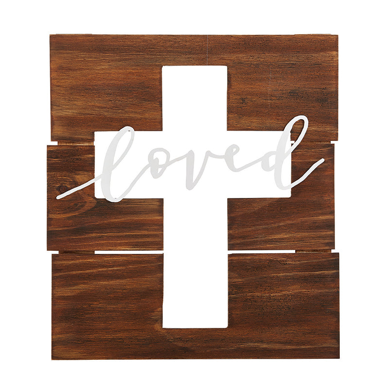 Cross - Loved Cut-Out Pallet Cross - Love the Lord Inc