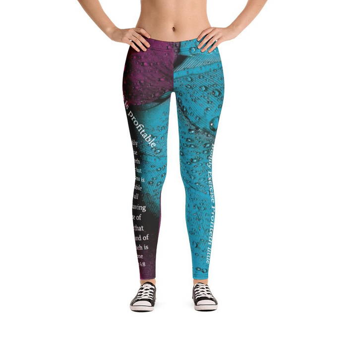 Scripture Leggings - Exercise and godliness - Love the Lord Inc