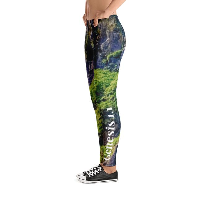 Scripture Leggings - In The Beginning God Created (Mountain Landscape & Waterfall) - Love the Lord Inc