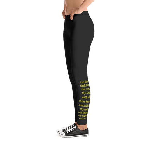 Scripture Leggings - Love God, Heart, Soul, Might (Yellow) - Love the Lord Inc
