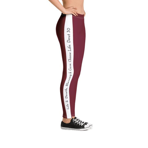 Scripture Leggings - Life & Blessings (Wine) - Love the Lord Inc