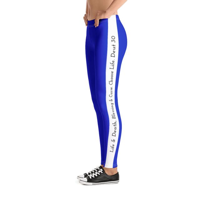 Scripture Leggings - Life & Blessings (Blue) - Love the Lord Inc