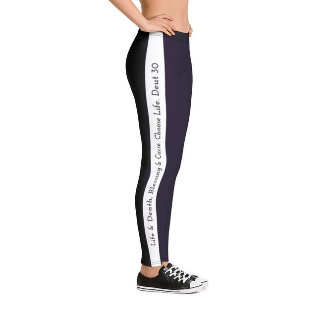 Scripture Leggings - Life & Blessings (Purple) - Love the Lord Inc