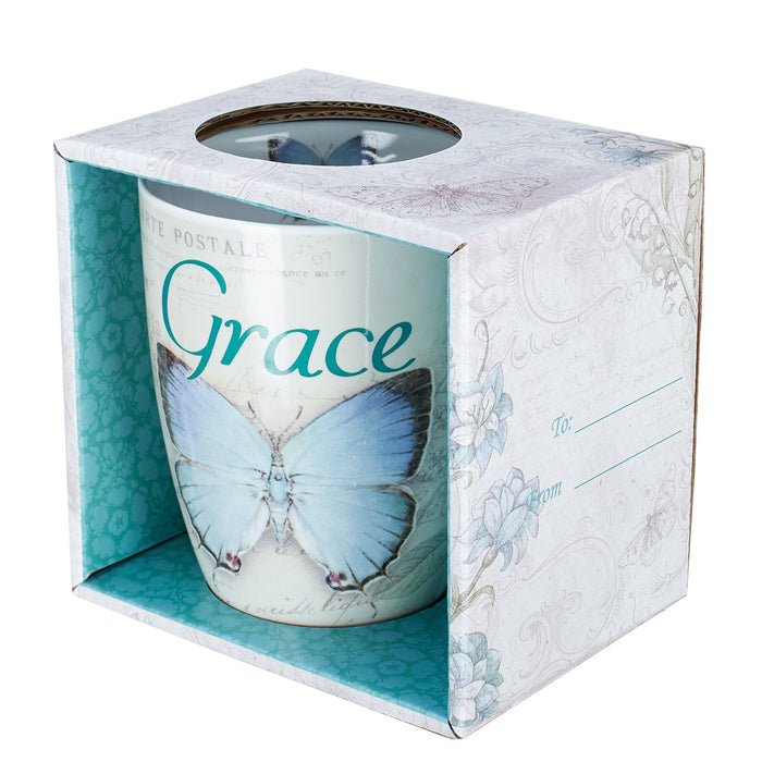Mug - Grace Butterfly Blue - Love the Lord Inc
