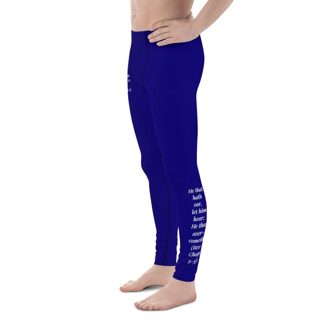 Men's Leggings - Courage & He That Overcometh (Royal Blue) - Love the Lord Inc