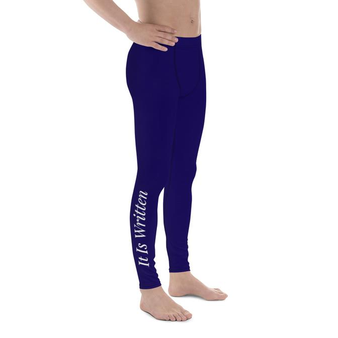 Mens Scripture Leggings - Thus Saith The Lord/It Is Written (Navy/White) - Love the Lord Inc