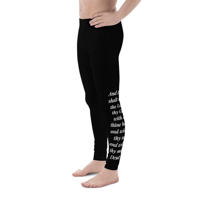 Mens Scripture Leggings - Love God, Heart, Soul, Might (White) - Love the Lord Inc