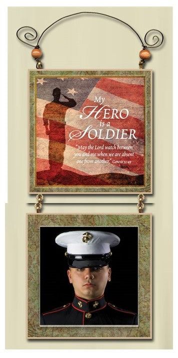 My Hero is a Soldier - Hanging Photo Frame - Love the Lord Inc