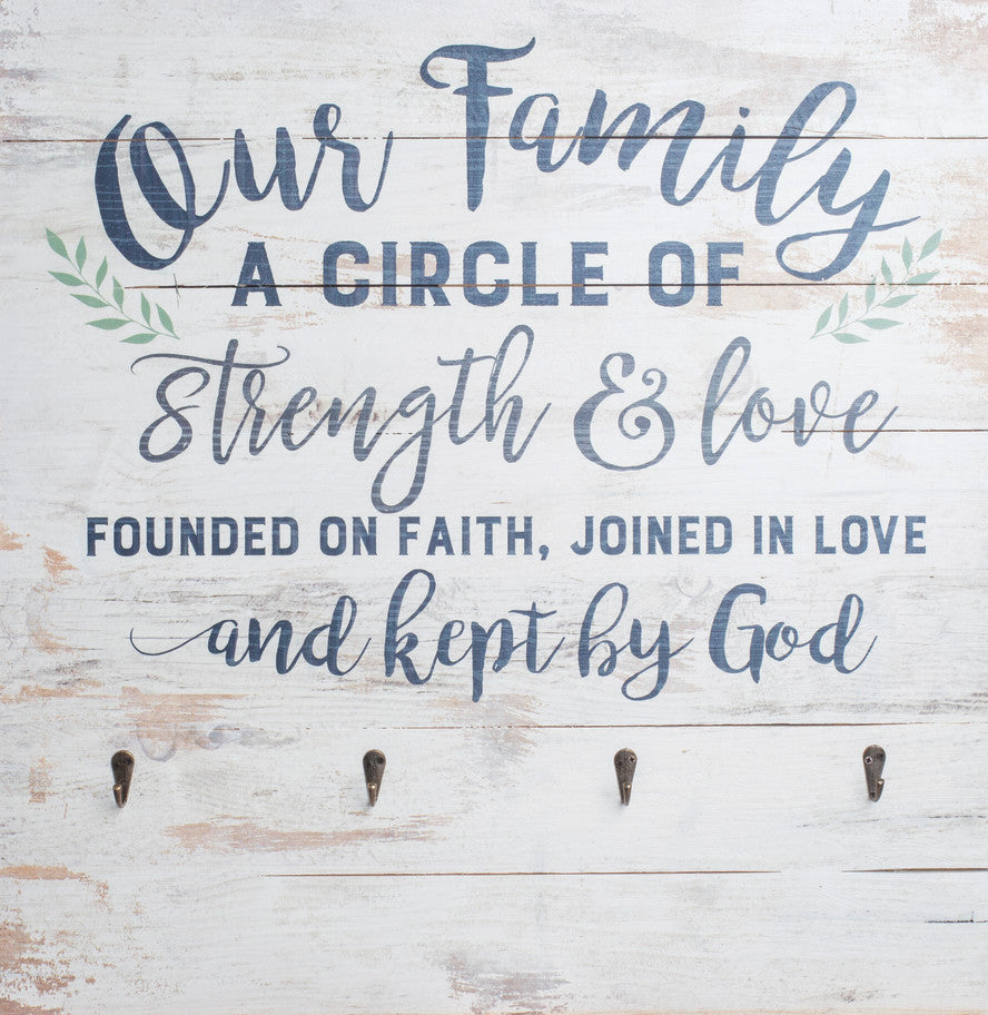Functional Wall Decor with Hooks - Our Family - Love the Lord Inc