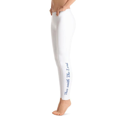 Scripture Leggings - Thus Saith The Lord/It Is Written (White) - Love the Lord Inc