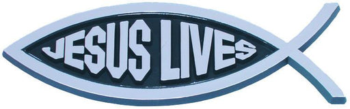 Car Emblem - Jesus Lives (Silver) - Love the Lord Inc