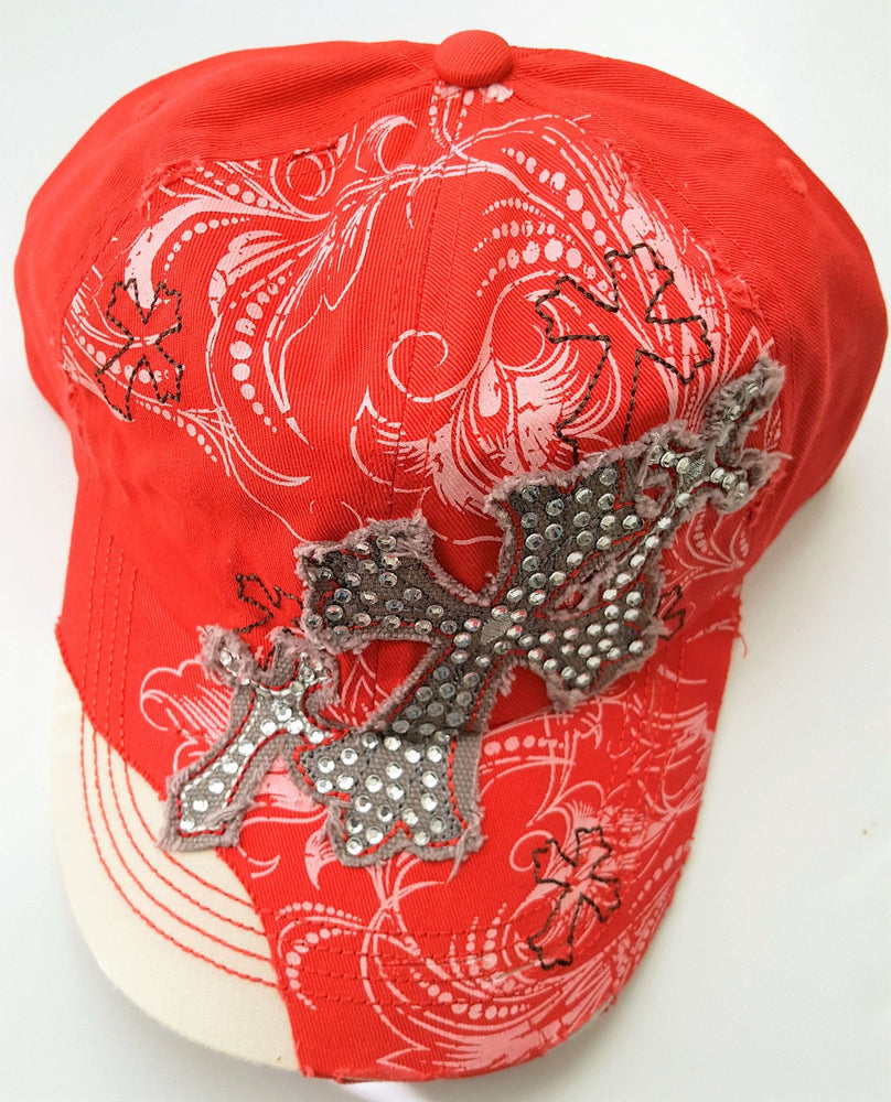 Christian Hat - Decorative Cross (Red and White) - Love the Lord Inc