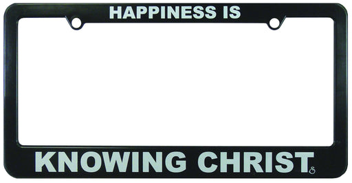 Christian License Frame - Happiness Is Knowing Christ - Love the Lord Inc
