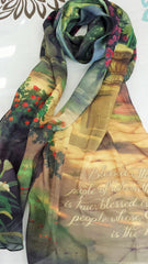 Accessories - Christian Scarf - Blessed Is The People (Thomas Kinkade Designer Scarf)