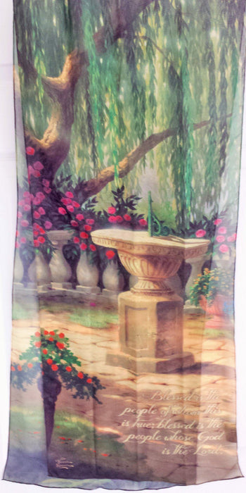 Christian Scarf - Blessed is the People (Thomas Kinkade designer scarf) - Love the Lord Inc