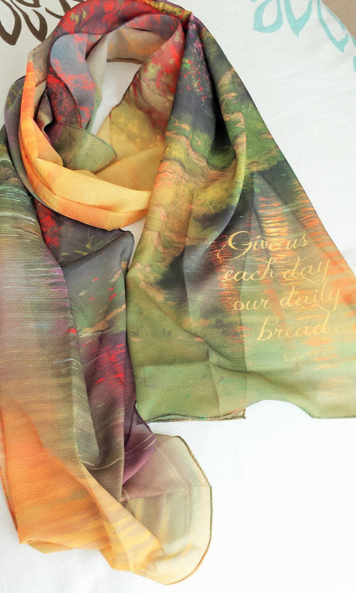Christian Scarf - Give Us Our Daily Bread (Thomas Kinkade designer scarf) - Love the Lord Inc