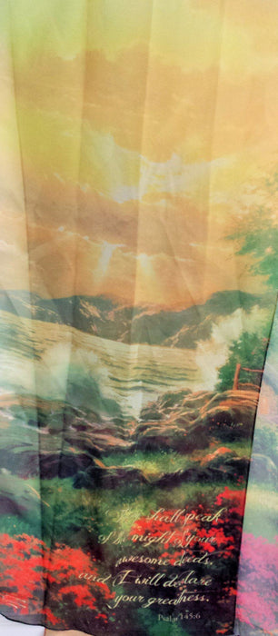 Christian Scarf - I Will Declare Your Greatness (Thomas Kinkade designer scarf) - Love the Lord Inc
