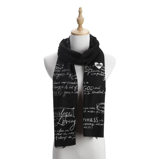 Christian Scarf - Kindness (Black Knit) - Love the Lord Inc
