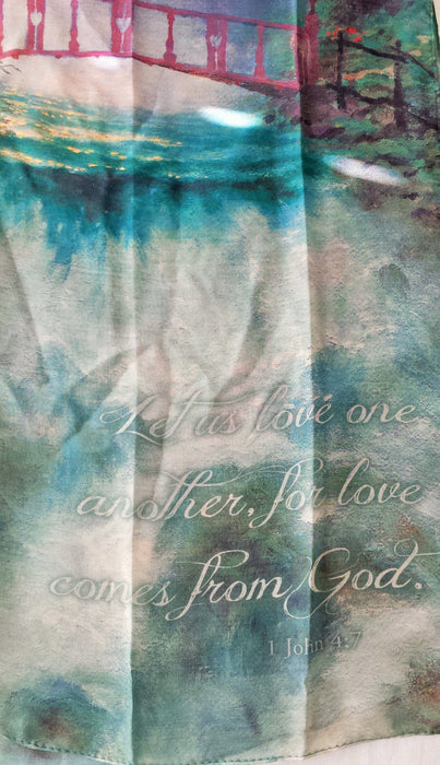 Christian Scarf - Let Us Love One Another (Thomas Kinkade designer scarf) - Love the Lord Inc