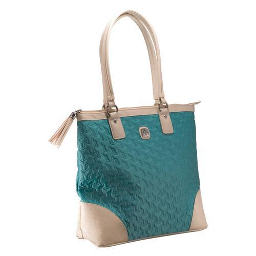 Christian Tote Bag - Quilted Teal Bag with Engraved Cross - Love the Lord Inc
