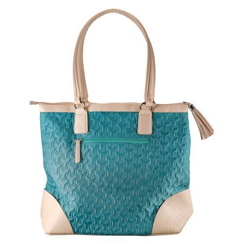 Accessories - Christian Tote Bag - Quilted Teal Bag With Engraved Cross