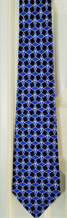 FREEMAN GEOMETRIC ROYAL BLUE SILK TIE - Love the Lord Inc