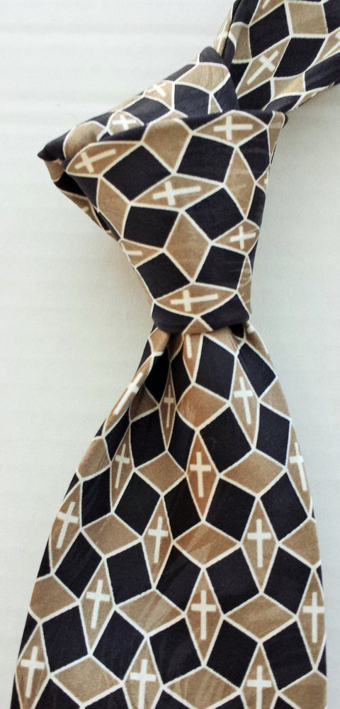 FREEMAN GEOMETRIC TAUPE/BLACK SILK TIE - Love the Lord Inc