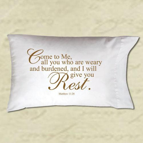 "Pillow Case - ""Come To Me I Will Give You Rest"" (Christian Gift) - Love the Lord Inc"