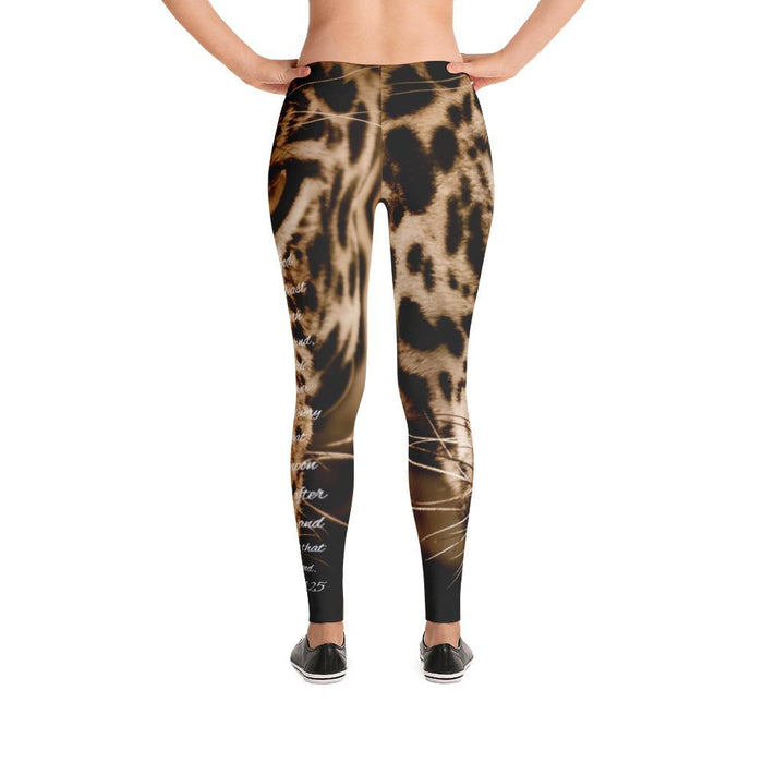 Scripture Leggings - God Created Jaguar (Genesis 1:25) - Love the Lord Inc