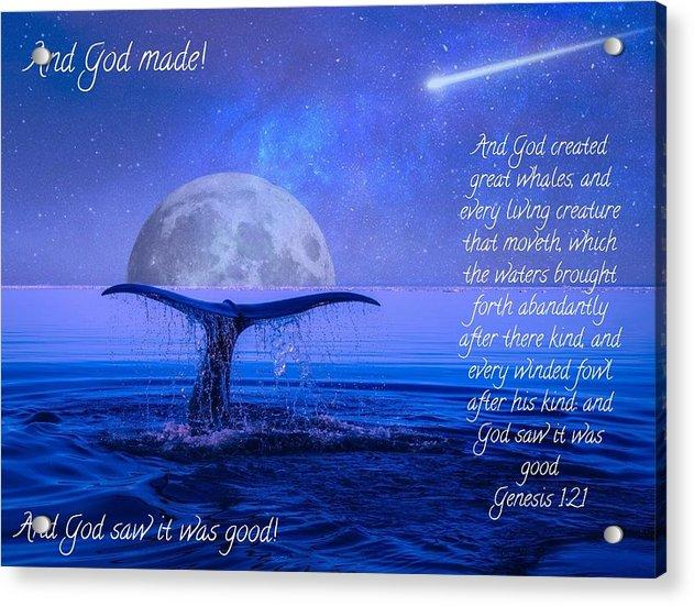 God Made Moon And Whale - Acrylic Print - Love the Lord Inc