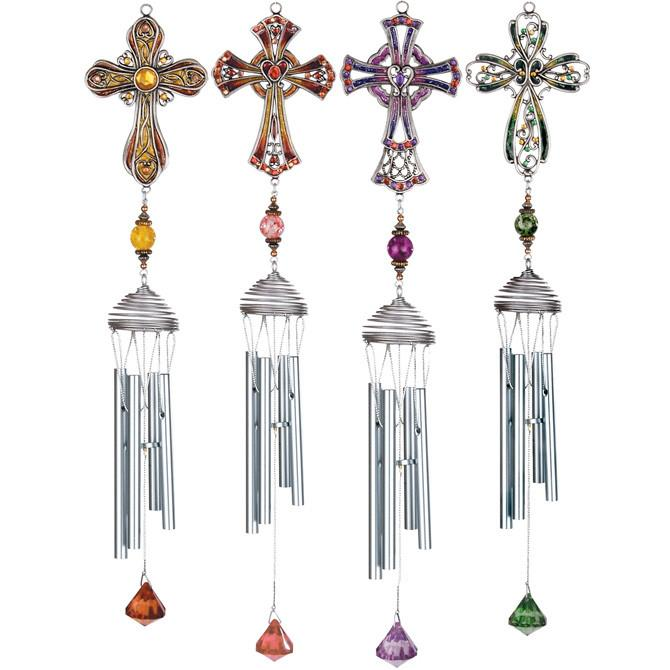 Chimes - Cross Chime (Multi-color Cross and Gems) - Love the Lord Inc