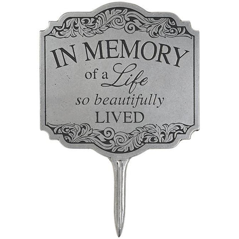 "Art/Sculpture - Memory Gift - ""In Memory"" Garden Stake."