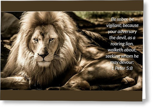 Be Sober Your Adversary - Greeting Card - Love the Lord Inc