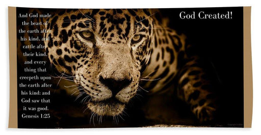 God Created Jaguar - Beach Towel - Love the Lord Inc