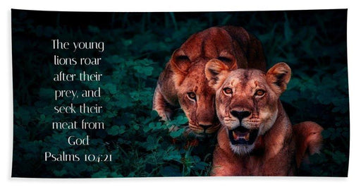 Lions Seek Food From God - Beach Towel - Love the Lord Inc