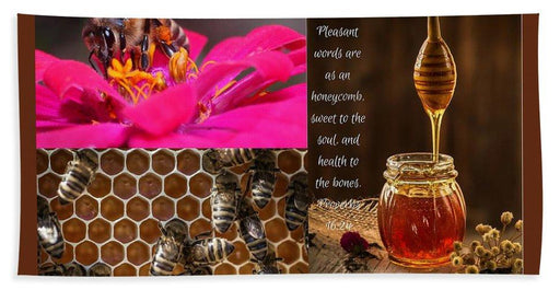 Pleasant Words And Honey - Beach Towel - Love the Lord Inc