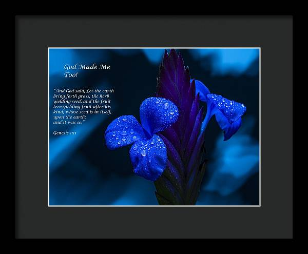 Beautiful Blue - God Made Me Too - Framed Print - Love the Lord Inc