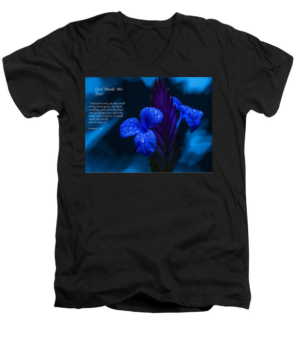 Beautiful Blue - God Made Me Too - Men's V-Neck T-Shirt - Love the Lord Inc