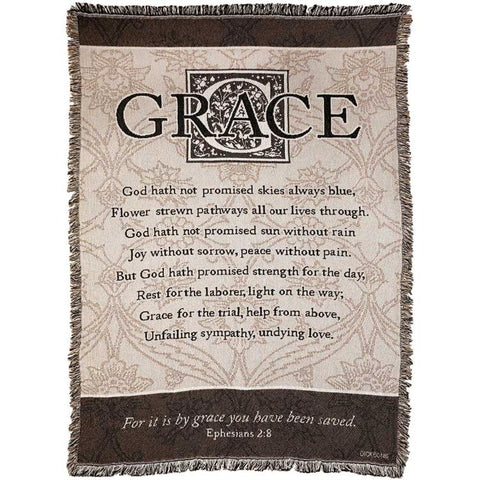 "Bed & Bath - Throws - Grace ""It Is By Grace You Have Been Saved"""